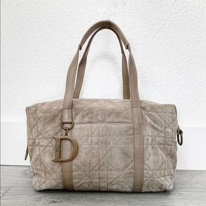 Christian Dior Suede Cannage Satchel Bag in Beige